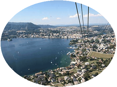View from Grünberg to lake Traunsee